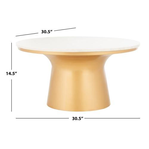 Safavieh - Mila Pedestal Coffee Table - White Marble / Brass
