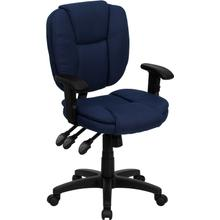 View Product - Mid-Back Navy Blue Fabric Multifunction Swivel Ergonomic Task Office Chair with Pillow Top Cushioning and Arms