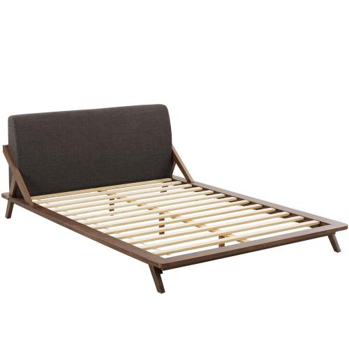 Luella Queen Upholstered Fabric Platform Bed in Walnut Brown