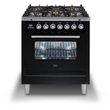 Professional Plus 30 Inch Dual Fuel Liquid Propane Freestanding Range in Glossy Black with Chrome Trim