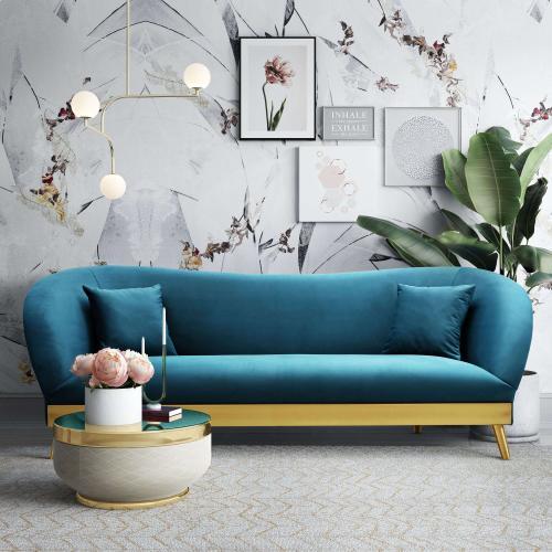 Tov Furniture - Chloe Spotted Blue Velvet Sofa