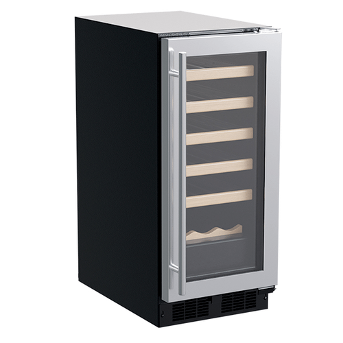 Marvel - 15-In Built-In Single Zone Wine Refrigerator With Wine Cradle with Door Style - Stainless Steel Frame Glass