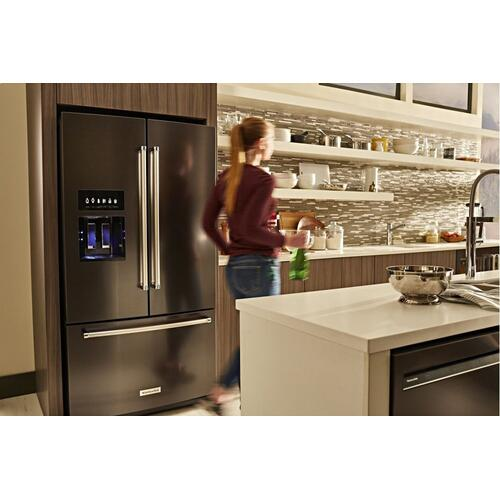 26.8 cu. ft. 36-Inch Width Standard Depth French Door Refrigerator with Exterior Ice and Water and PrintShield™ Finish - Black Stainless Steel with PrintShield™ Finish