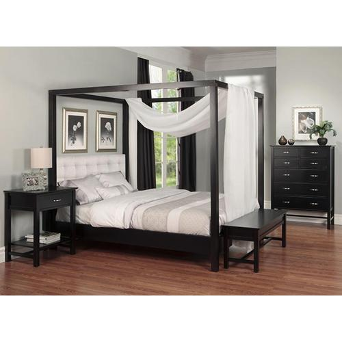 - Brooklyn Queen Canopy Bed with Wood Headboard Panel