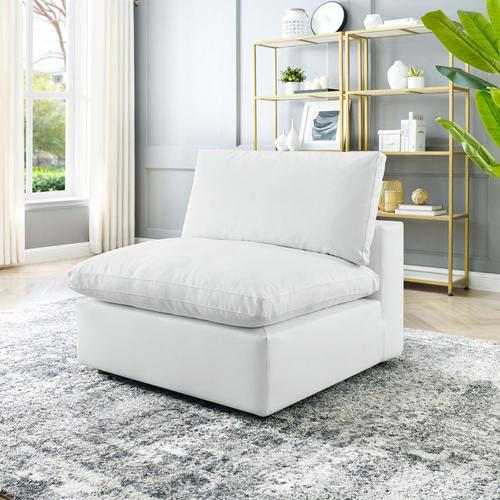 Modway - Commix Down Filled Overstuffed Vegan Leather Armless Chair in White