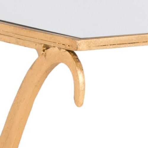Lavar Coffee Table - Gold / Tempered Glass Top