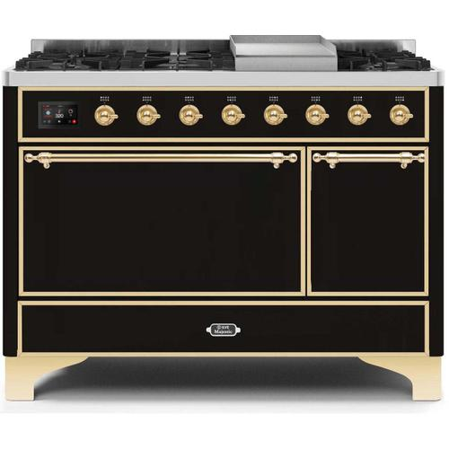 Gallery - Majestic II 48 Inch Dual Fuel Natural Gas Freestanding Range in Glossy Black with Brass Trim