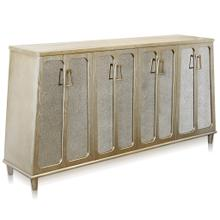 See Details - BARNES SIDEBOARD  Charcoal Champagne Finish on Hardwood with Antique Mirror  4 Door