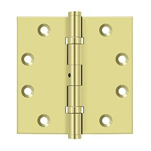 "4-1/2"" x 4-1/2"" Square Hinges, Ball Bearings - Polished Brass"