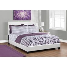 See Details - BED - QUEEN SIZE / WHITE LEATHER-LOOK