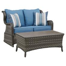 Abbots Court Loveseat Glider With Table