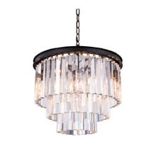 Sydney 9 light Matte Black Chandelier Clear Royal Cut Crystal