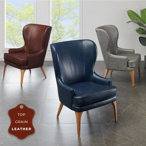 Bjorn KD Top Grain Leather Accent Chair, Garrett Gray