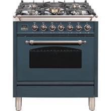 Nostalgie 30 Inch Dual Fuel Natural Gas Freestanding Range in Blue Grey with Bronze Trim