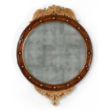Regency walnut & gilt round convex eglomis e mirror (Large)