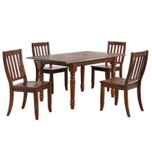 See Details - Butterfly Leaf Dining Set w/School House Chairs - Chestnut (5 Piece)