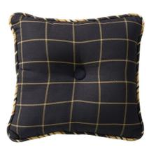 Ashbury Tufted Throw Pillow, Black & Tan Windowpane