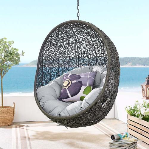 Hide Outdoor Patio Sunbrella® Swing Chair With Stand in Gray Gray