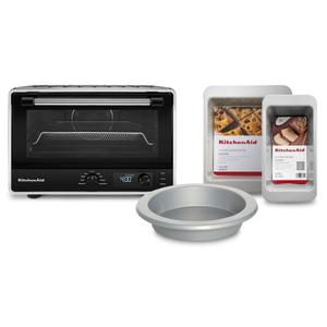 KitchenAid Digital Countertop Oven With Air Fry And 3 Piece Bakeware Set Bundle - Black Matte