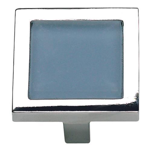 Atlas Homewares - Spa Blue Square Knob 1 3/8 Inch - Polished Chrome