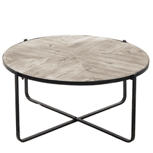See Details - Whitewash Reclaimed Wood Inlay Coffee Table (Each One Will Vary)
