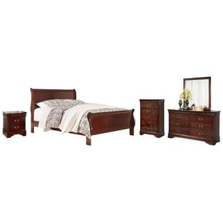 See Details - Queen Sleigh Bed With Mirrored Dresser, Chest and Nightstand