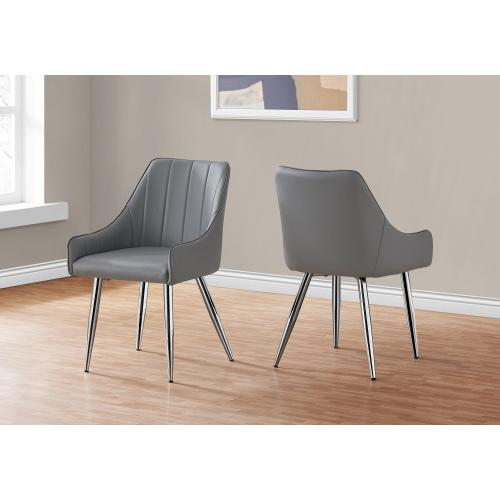 "DINING CHAIR - 2PCS / 33""H / GREY LEATHER-LOOK / CHROME"