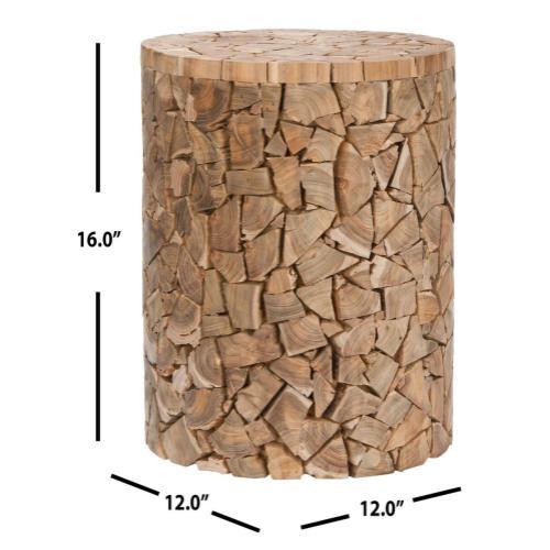 Canyon Teak Round Stool - Medium Oak