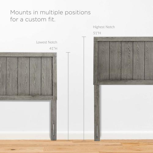 Modway - Robbie Full Wood Headboard in Gray