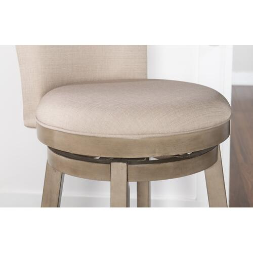 Upholstered Seat and Back Linen Fabric Barstool, Natural and Rustic Taupe