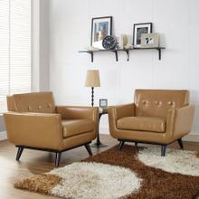 Engage Leather Sofa Set in Tan