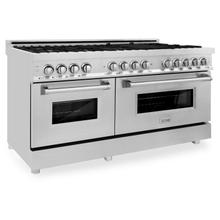"""View Product - ZLINE 60"""" 7.4 cu. ft. Dual Fuel Range with Gas Stove and Electric Oven in Stainless Steel (RA60) [Color: Stainless Steel with Brass Burners]"""