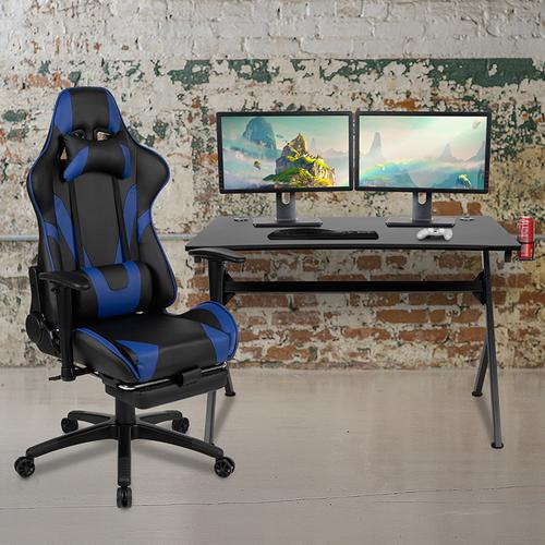 Gallery - Black Gaming Desk and Blue Footrest Reclining Gaming Chair Set with Cup Holder, Headphone Hook & 2 Wire Management Holes