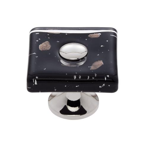 Polished Nickel 35 mm Black Flat Square Knob