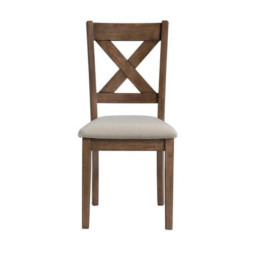 Farmhouse Beige Upholstered X Back Dining Chair