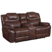 See Details - Power Dual Reclining Loveseat w/Center Console & Cup Holders - Brown Leather Gel (ZY5018A Collection)