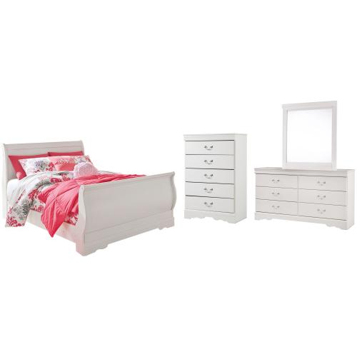 Product Image - Full Sleigh Bed With Mirrored Dresser and Chest