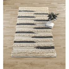 Black & Cream Fringe Boho 5' x 8' Rug