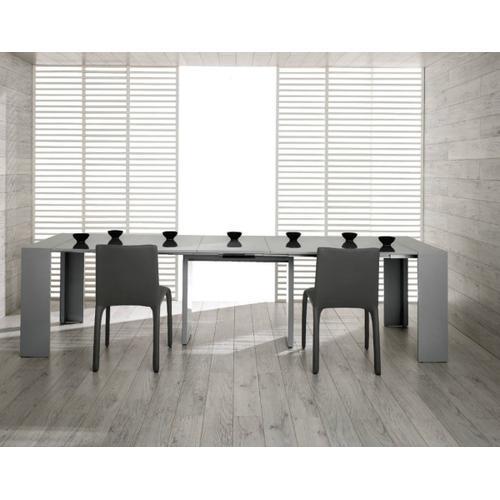 Modrest Morph - Modern Ultra-Compact Extendable Grey Gloss Dining Table