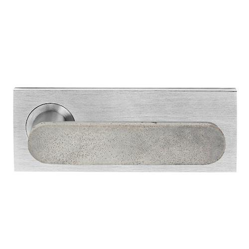 Concrete Club on Extended Rose, Fixed half set internal, Satin Nickel, Luna Grey