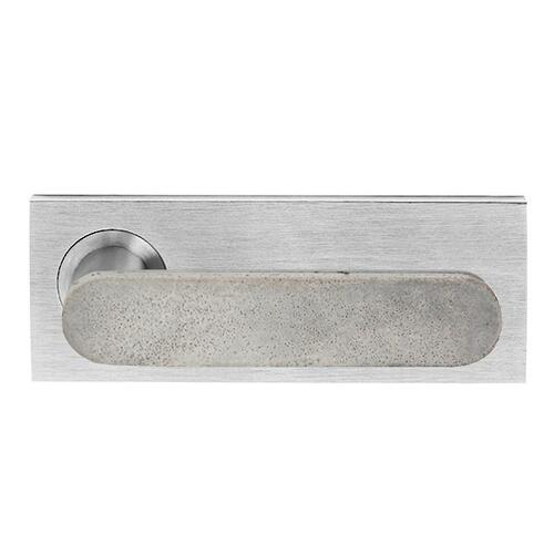 Concrete Club on Extended Rose, Full privacy set inc latch bolt 60mm backset, Polished Chrome, Luna Grey