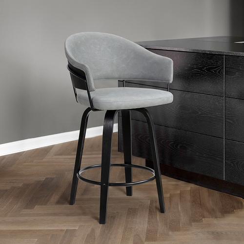 "Armen Living - Doral 26"" Light Gray Velvet Barstool in Black Powder Coated Finish with Chrome and Black Brushed Wood"