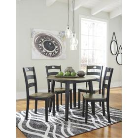 Froshburg Round Table & 4 Chairs Grayish Brown/Black