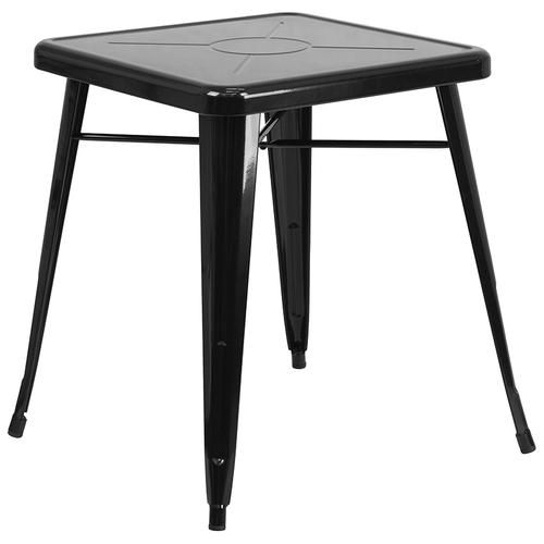 """Commercial Grade 23.75"""" Square Black Metal Indoor-Outdoor Table Set with 2 Stack Chairs"""