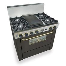 """36"""" Dual Fuel, Convect, Self-Clean, Open Burners, Black with Brass"""