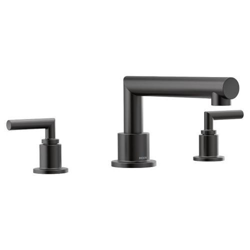 Arris matte black two-handle roman tub faucet