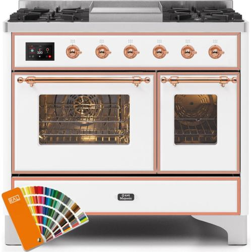 Majestic II 40 Inch Dual Fuel Natural Gas Freestanding Range in Custom RAL Color with Copper Trim