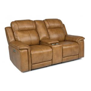 Flexsteel  Kingsley Power Reclining Loveseat with Console & Power Headrests & Lumbar