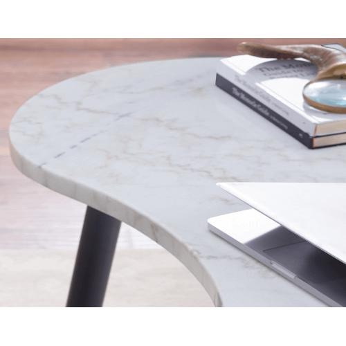 Kinsley White Marble Kidney Shape Desk