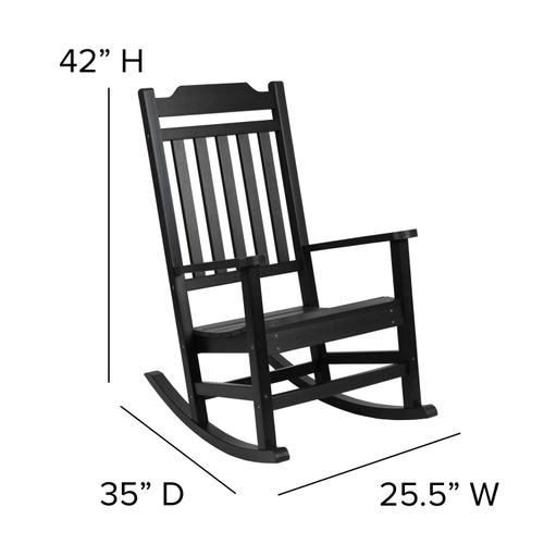 Flash Furniture - Winston All-Weather Poly Resin Rocking Chair in Black